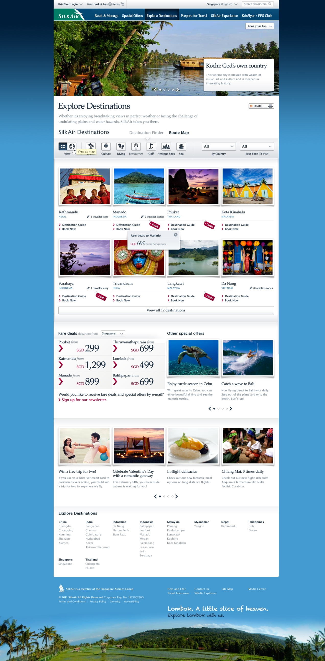 "Final ""Destinations"" page template (modules may be selectively deactivated for a shorter page)"