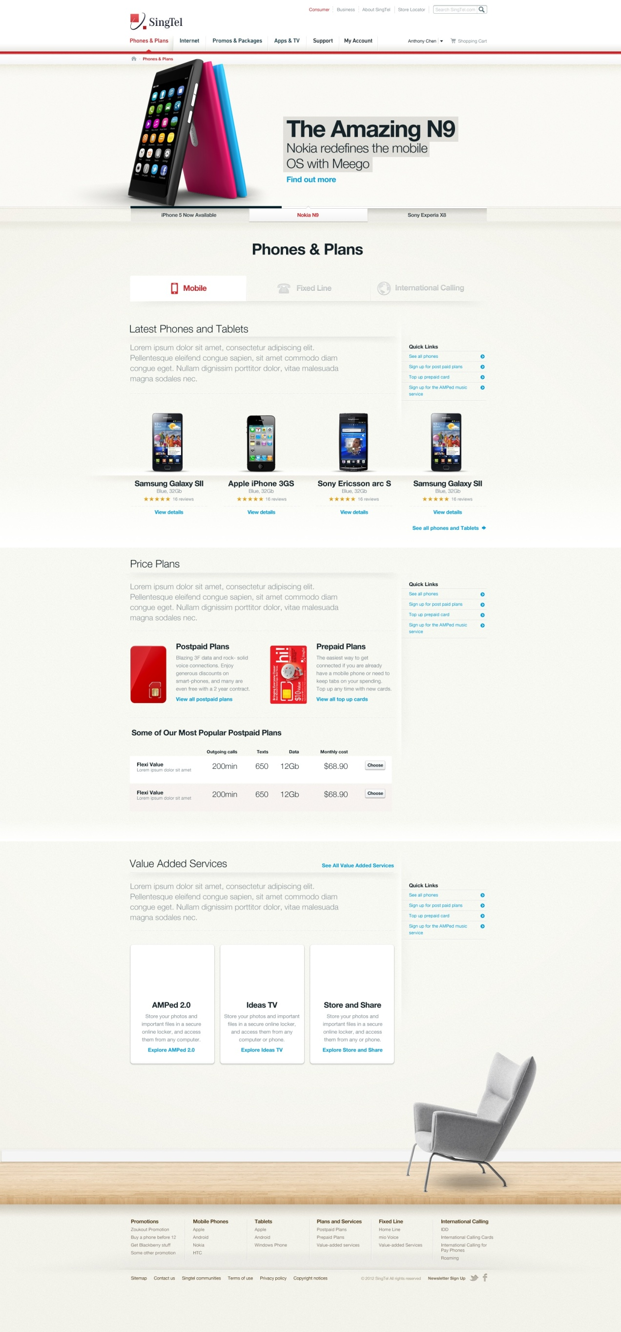Landing page for mobile phones and plans