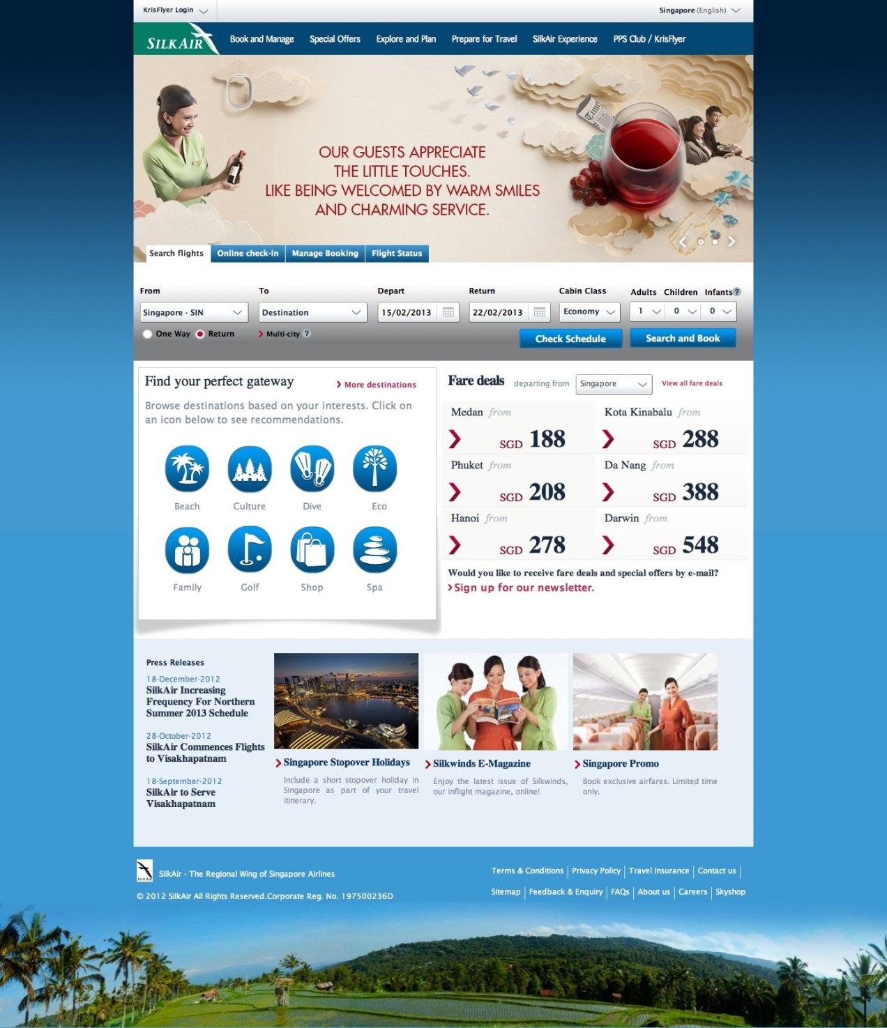 Live homepage as at Feb 2013, featuring a single-line flight search form, destination information, and browsing by specific interests.