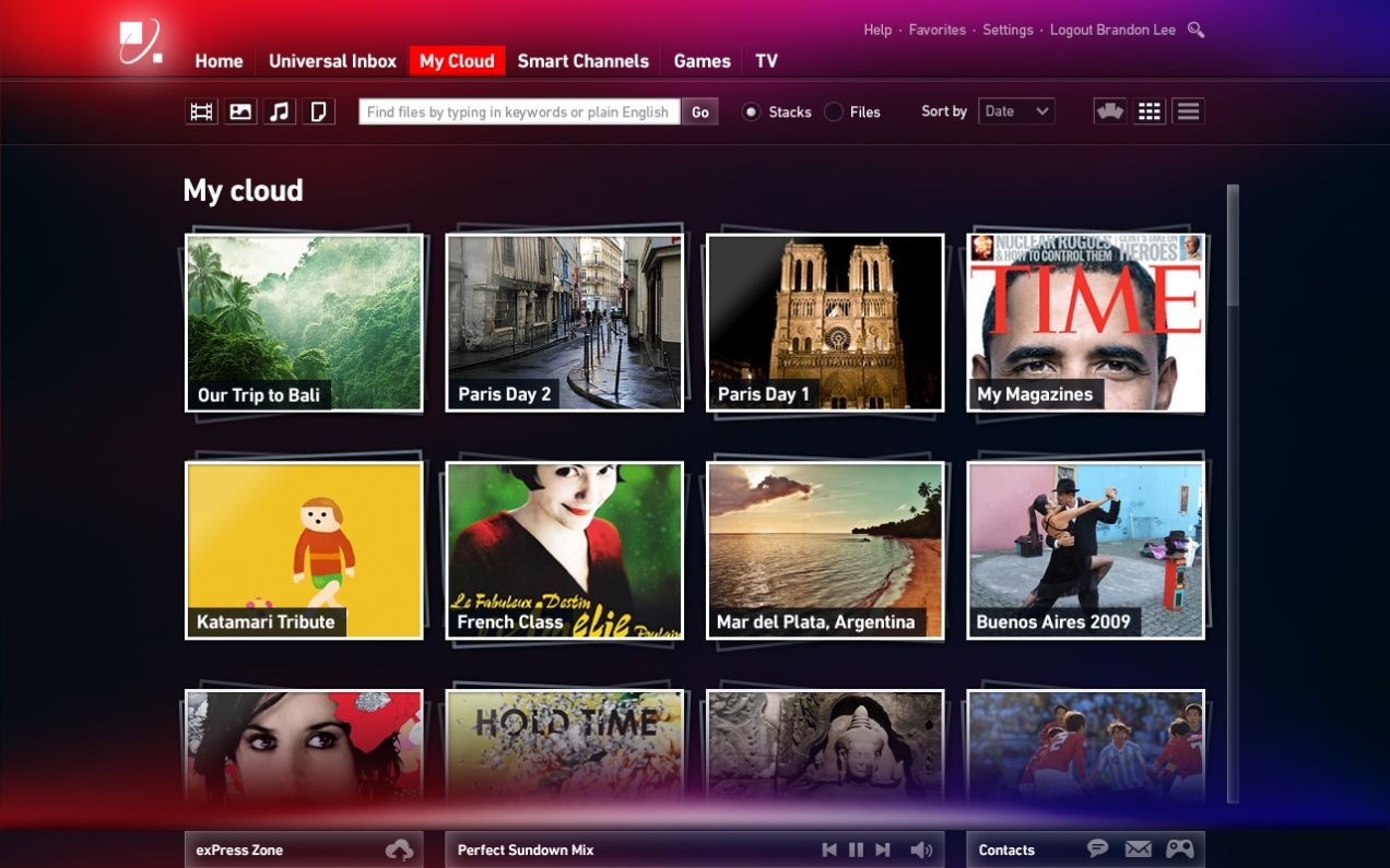Envisioned as the ultimate cloud storage front-end, the product would sort and manage all manner of files uploaded by the user. Imagine Dropbox without the constraints of a traditional filesystem, with integrated apps that let you view images, play media, and create collections on-the-fly with a simple toolbar and natural-language filtering.