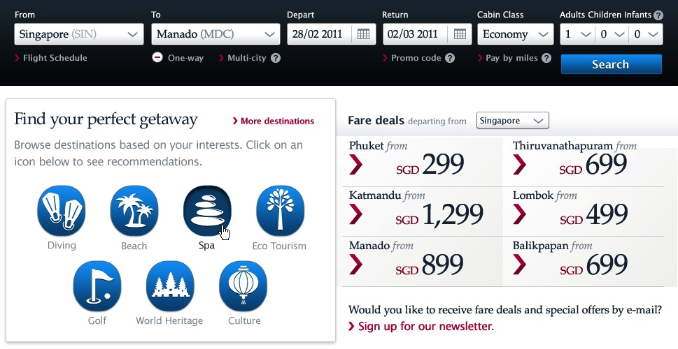 Detail of homepage from final design, featuring a single-row flight search form, browsing by specific interests, and clearly-marked deals.