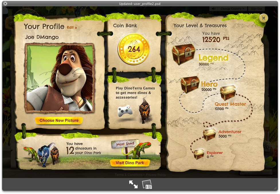 User profile page, with level/progress-based rewards (downloadable wallpapers, ringtones