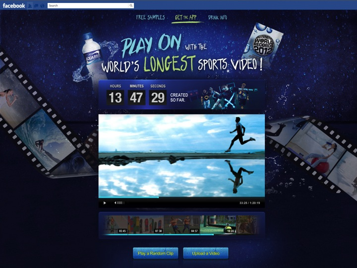 A counter shows the current length of the world's longest sports video.