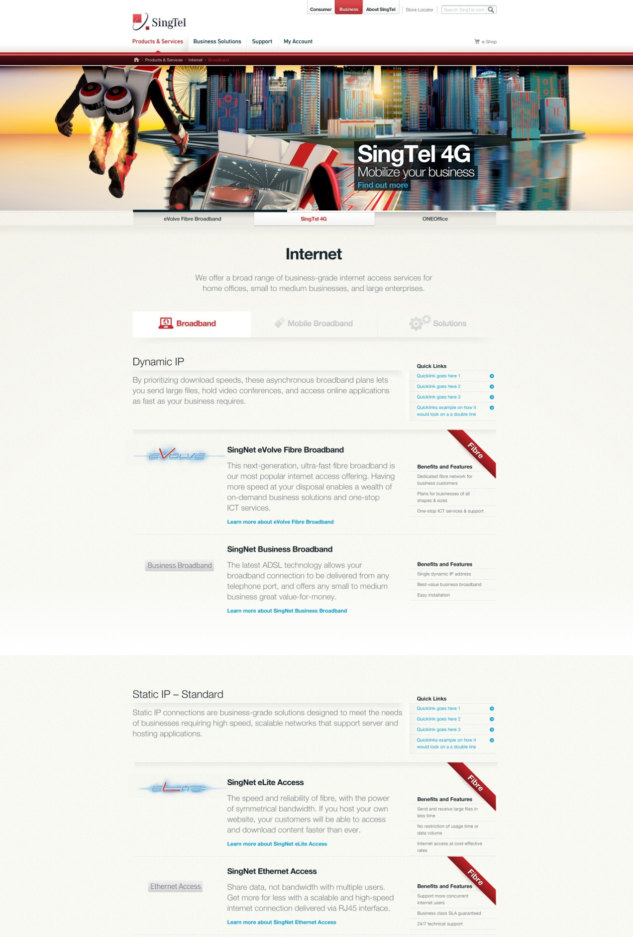 Business products landing page and categorization