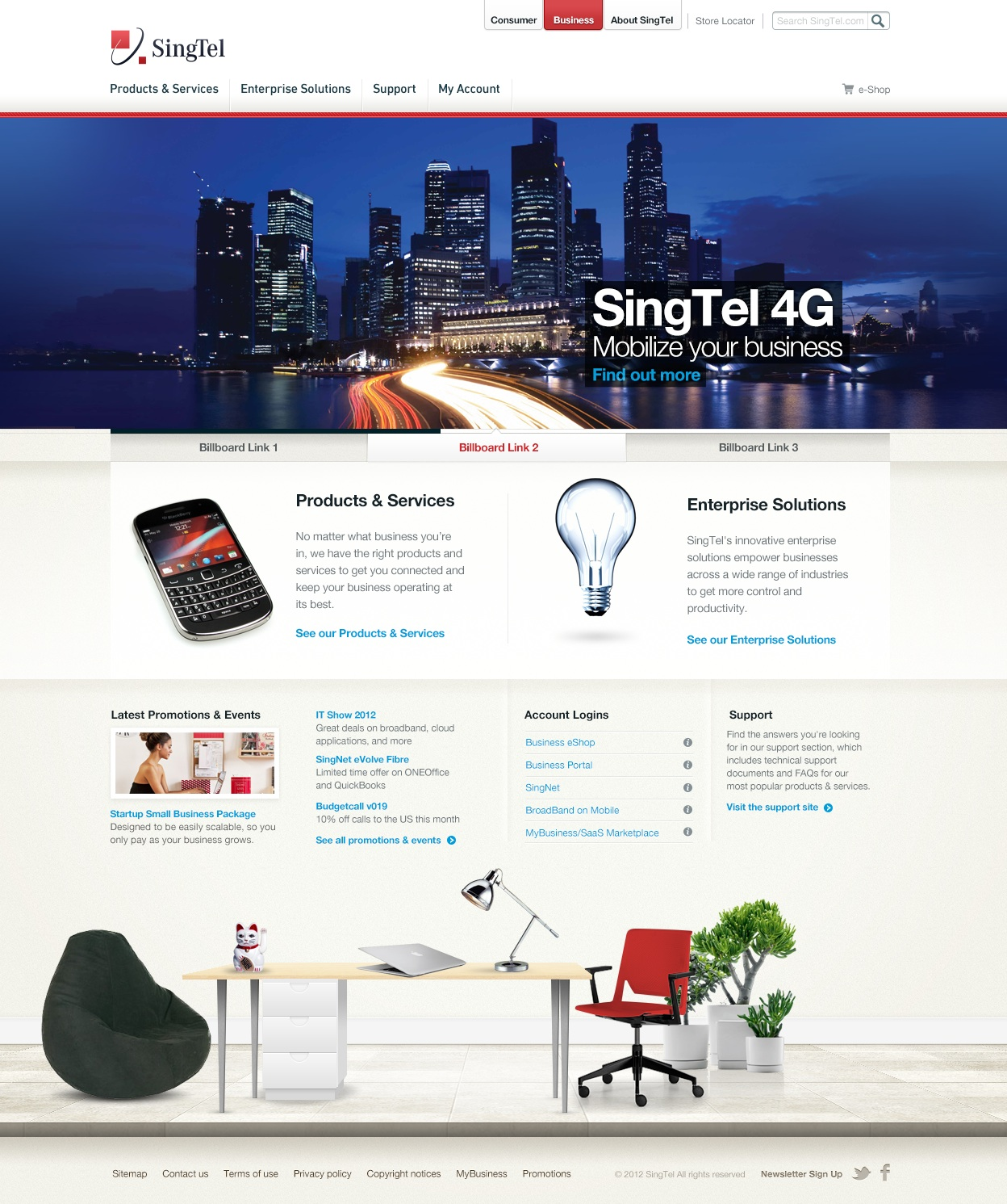 Homepage design for business section